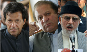 Imran Khan, Nawaz Sharif and Tahirul Qadri.