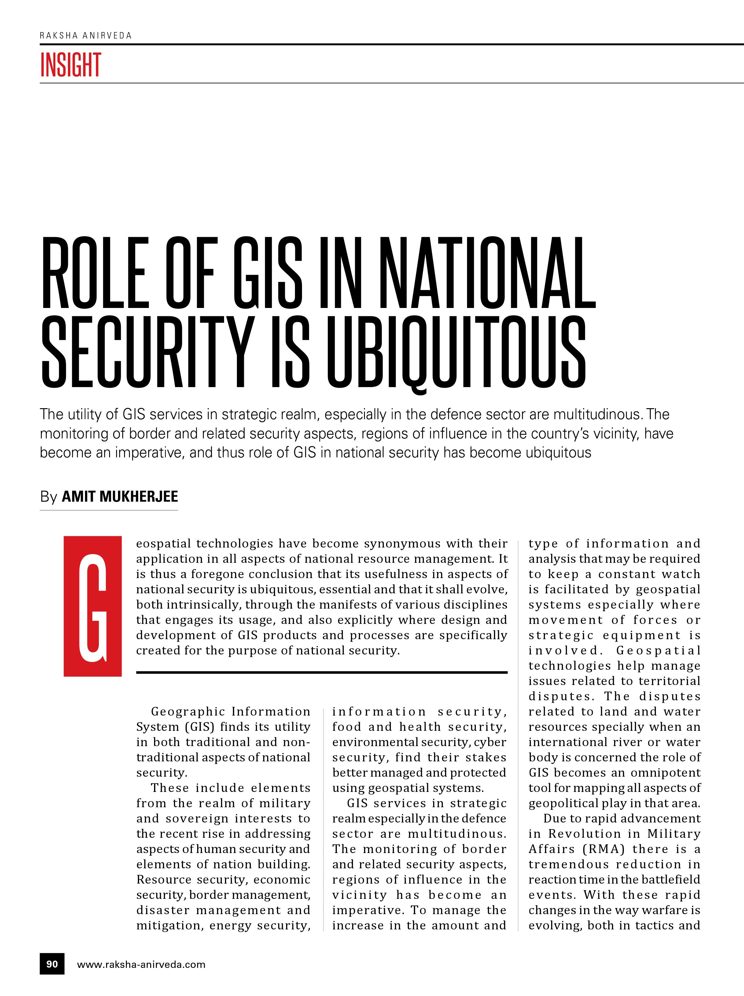 ROLE OF GIS IN NATIONAL SECURITY IS UBIQUITOUS